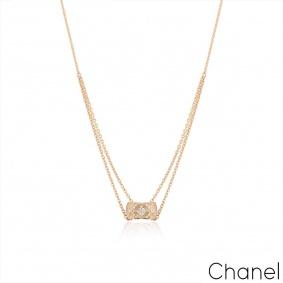 Chanel Beige / Rose Gold Diamond Coco Crush Necklace J11359